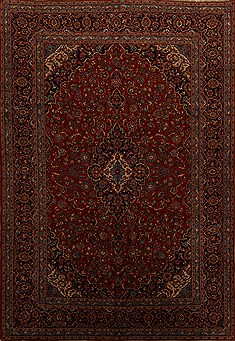 Persian Kashan Red Rectangle 10x14 ft Wool Carpet 15693