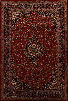 Persian Kashan Red Rectangle 10x14 ft Wool Carpet 15695