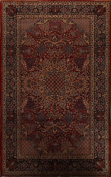 Persian Najaf-abad Red Rectangle 10x14 ft Wool Carpet 15705