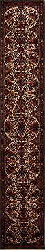 Persian Hamedan Beige Runner 16 to 20 ft Wool Carpet 15717
