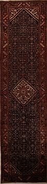 """Persian Hamedan  Wool Black Runner Area Rug  (3'5"""" x 14'8"""") - 251 - 15742"""