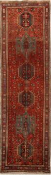 Persian Karajeh Red Runner 10 to 12 ft Wool Carpet 15752