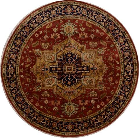 Indian Serapi Beige Round 7 To 8 Ft Wool Carpet 15763