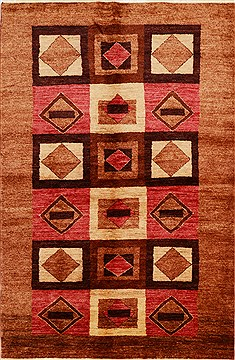 Pakistani Gabbeh Brown Rectangle 5x8 ft Wool Carpet 15810