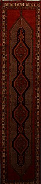 "Ardebil Red Runner Hand Knotted 3'8"" X 14'1""  Area Rug 250-15883"