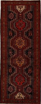 "Mussel Red Runner Hand Knotted 3'11"" X 10'3""  Area Rug 250-15929"