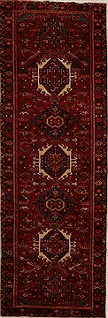 Persian Karajeh Red Runner 10 to 12 ft Wool Carpet 15959
