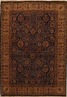 Indian Indo-Persian Black Rectangle 5x7 ft Wool Carpet 15969