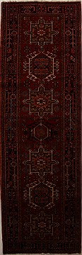 "Karajeh Red Runner Hand Knotted 3'6"" X 11'1""  Area Rug 250-15982"