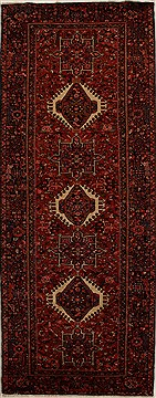 "Karajeh Red Runner Hand Knotted 5'1"" X 12'11""  Area Rug 250-15999"