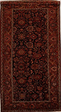 Persian Hamedan Black Rectangle 7x10 ft Wool Carpet 16005