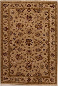 Indian Ziegler Beige Rectangle 6x9 ft Wool Carpet 16034