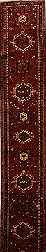 Persian Karajeh Red Runner 13 to 15 ft Wool Carpet 16055