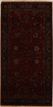 Indian Indo-Persian Red Rectangle 5x8 ft Wool Carpet 16065