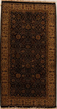 Indian Indo-Persian Black Rectangle 5x8 ft Wool Carpet 16067