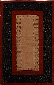 Persian Gabbeh Multicolor Rectangle 4x6 ft Wool Carpet 16116