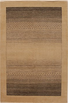 Indian Gabbeh Beige Rectangle 4x6 ft Wool Carpet 16147