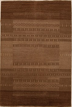 Indian Gabbeh Beige Rectangle 4x6 ft Wool Carpet 16151