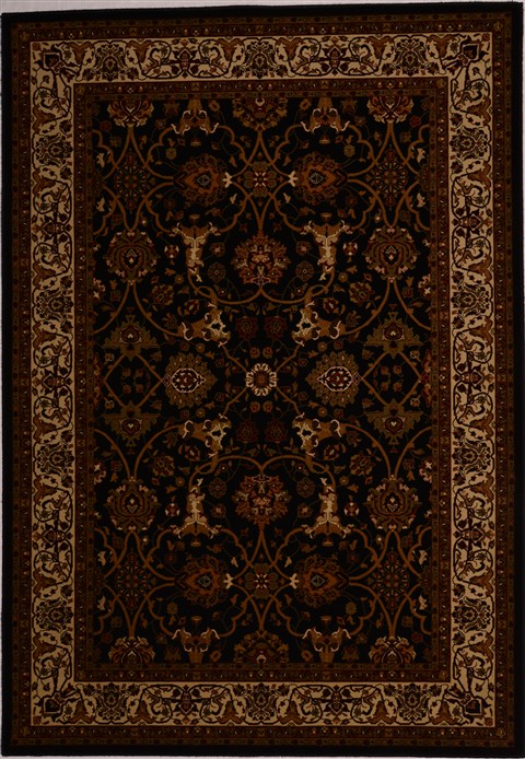 Turkish Tabriz Black Rectangle 5x8 Ft Synthetic Carpet