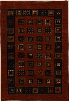 Indian Gabbeh Orange Rectangle 4x6 ft Wool Carpet 16235