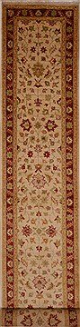 Pakistani Chobi Beige Runner 16 to 20 ft Wool Carpet 16249