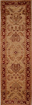 Pakistani Chobi Beige Runner 10 to 12 ft Wool Carpet 16251