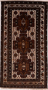 "Baluch Brown Runner Hand Knotted 3'3"" X 6'1""  Area Rug 100-16279"