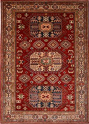 "Afghan Kazak Wool Red Rectangle Area Rug  (7'2"" x 9'9"") - 103-16325"