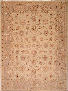 Pakistani Chobi Beige Rectangle 8x10 ft Wool Carpet 16327