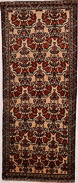 "Shahre Babak White Runner Hand Knotted 3'2"" X 7'4""  Area Rug 100-16333"