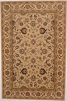 Chinese Tabriz Beige Rectangle 6x9 ft Wool Carpet 16355