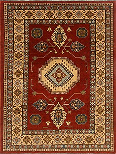 Pakistani Kazak Red Rectangle 7x10 ft Wool Carpet 16562