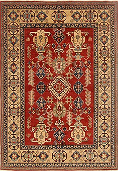 Pakistani Kazak Red Rectangle 7x10 ft Wool Carpet 16564