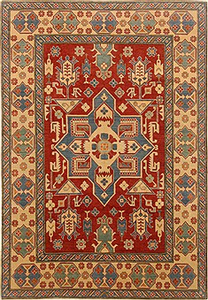 Pakistani Kazak Red Rectangle 7x10 ft Wool Carpet 16650