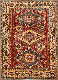 Pakistani Kazak Red Rectangle 7x10 ft Wool Carpet 16657