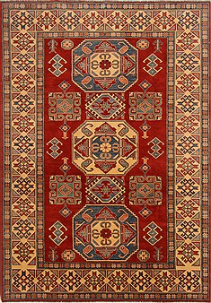 Pakistani Kazak Red Rectangle 8x11 ft Wool Carpet 16666