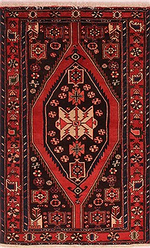 "Persian Mazlaghan  Wool Red Area Rug  (3'11"" x 6'8"") - 400 - 16722"