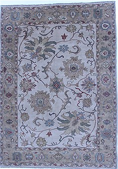 Egyptian Mahal Beige Rectangle 7x9 ft Wool Carpet 16853
