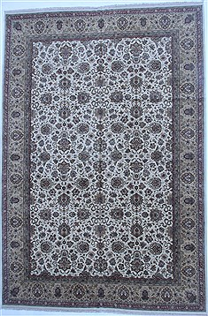 Indian Tabriz White Rectangle 12x18 ft Wool Carpet 16886