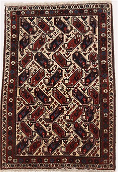 Persian Shahre babak Beige Rectangle 3x4 ft Wool Carpet 17090