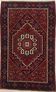 Persian Gholtogh Red Rectangle 3x5 ft Wool Carpet 17187