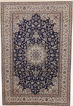 Persian Nain Blue Rectangle 7x10 ft Wool Carpet 17304