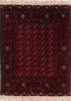 Afghan Turkman Red Rectangle 5x7 ft Wool Carpet 17387