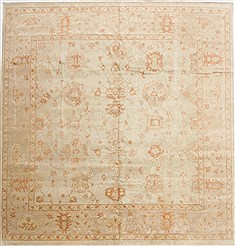 Indian Oushak Green Square 9 ft and Larger Wool Carpet 17573