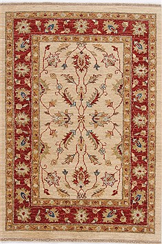 Pakistani Ziegler Beige Rectangle 3x4 ft Wool Carpet 17620