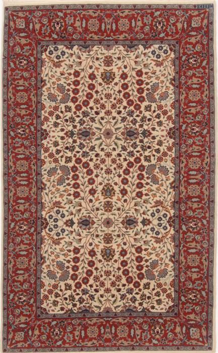 Turkish Hereke Beige Runner 3x5 Ft Wool Carpet 17643