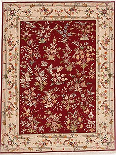 Persian Tabriz Red Rectangle 5x7 ft Wool Carpet 17661