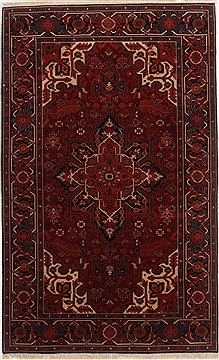 Indian Serapi Red Rectangle 4x6 ft Wool Carpet 17665