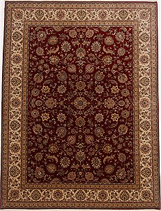 Indian Isfahan Red Rectangle 9x12 ft Wool Carpet 17714