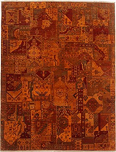 "Patchwork Multicolor Hand Knotted 7'9"" X 10'1""  Area Rug 250-17715"
